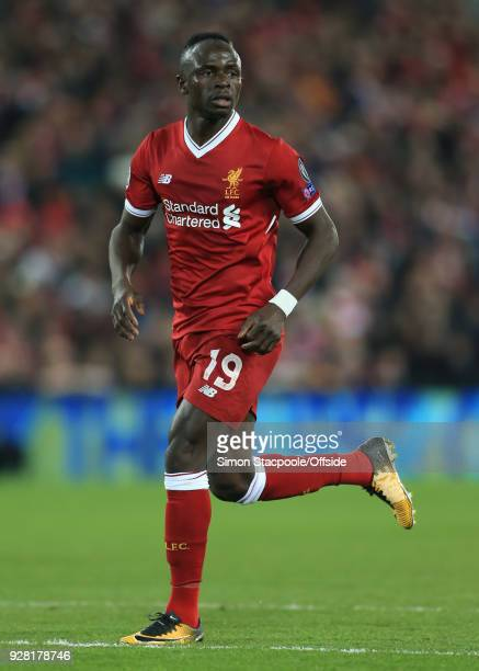 Sadio Mane of Liverpool during the UEFA Champions League Round of 16 Second Leg match between Liverpool and FC Porto at Anfield on March 6 2018 in...