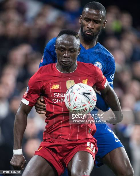 Sadio Mane of Liverpool FC and Antonio Rudiger of Chelsea FC in action during the FA Cup Fifth Round match between Chelsea FC and Liverpool FC at...