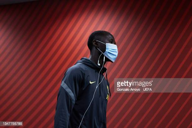 Sadio Mane of Liverpool FC arrives at the stadium before the UEFA Champions League group B match between Atletico Madrid and Liverpool FC at Wanda...