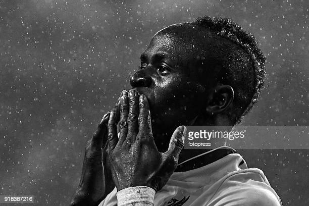 Sadio Mane of Liverpool FC celebrates after scoring his team's third goal and his second goal during the UEFA Champions League Round of 16 First Leg...