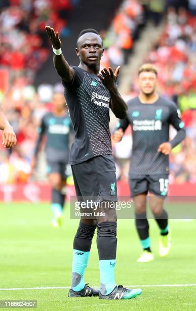 Sadio Mane of Liverpool FC celebrates scores a goal during the Premier League match between Southampton FC and Liverpool FC at St Mary's Stadium on...