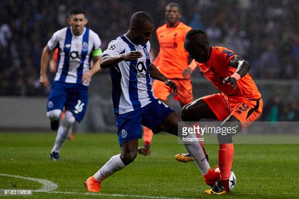 Sadio Mane of Liverpool FC is challenged by Ricardo Pereira of FC Porto during the UEFA Champions League Round of 16 First Leg match between FC Porto...