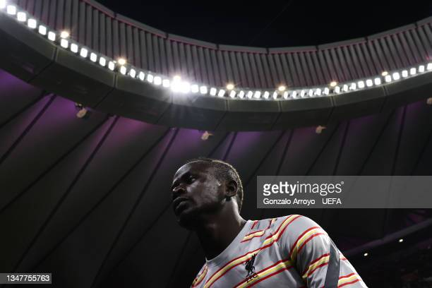 Sadio Mane of Liverpool FC leaves the pitch after his warm up before the UEFA Champions League group B match between Atletico Madrid and Liverpool FC...
