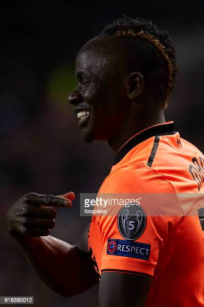 Sadio Mane of Liverpool FC reacts during the UEFA Champions League Round of 16 First Leg match between FC Porto and Liverpool FC at Estadio do Dragao...