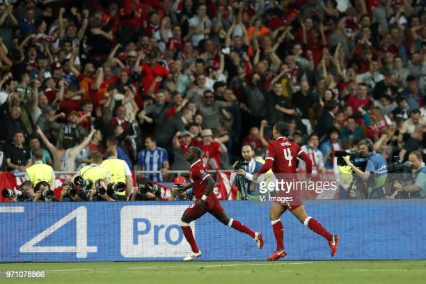 Sadio Mane of Liverpool FC Virgil van Dijk of Liverpool FC during the UEFA Champions League final between Real Madrid and Liverpool on May 26 2018 at...