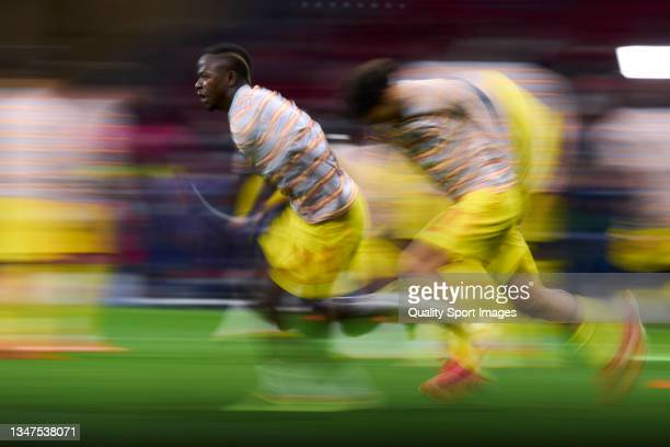 Sadio Mane of Liverpool FC warming up prior the game during the UEFA Champions League group B match between Atletico Madrid and Liverpool FC at Wanda...