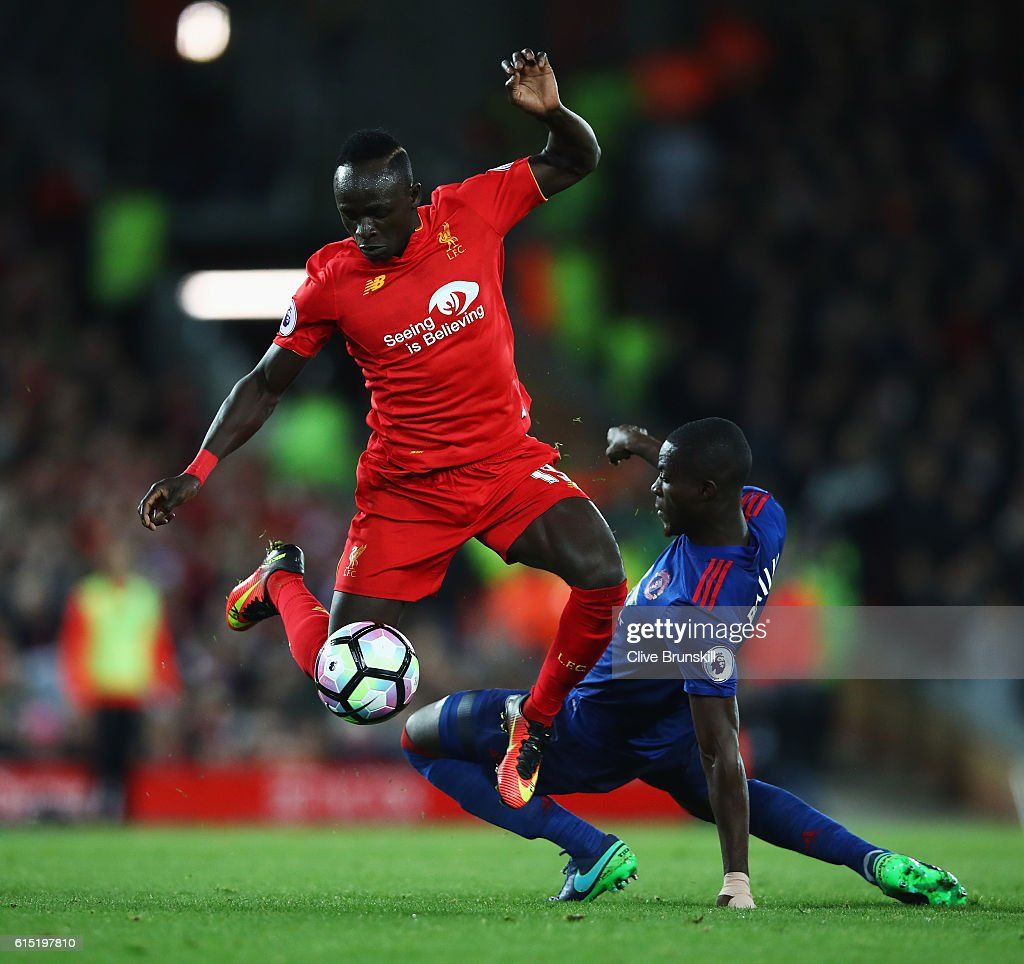 Sadio Mane of Liverpool goes past Eric Bailly of Manchester United during the Premier League match between Liverpool and Manchester United at Anfield on October 17, 2016 in Liverpool, England.