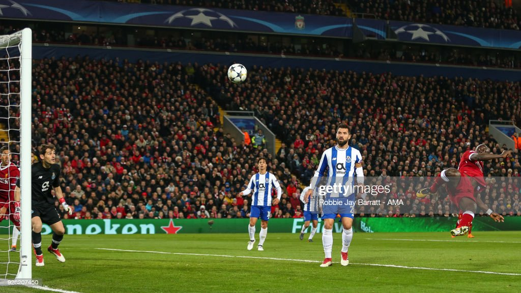 Sadio Mane of Liverpool has a shot at goal during the UEFA Champions League Round of 16 Second Leg match between Liverpool and FC Porto at Anfield on March 6, 2018 in Liverpool, United Kingdom.