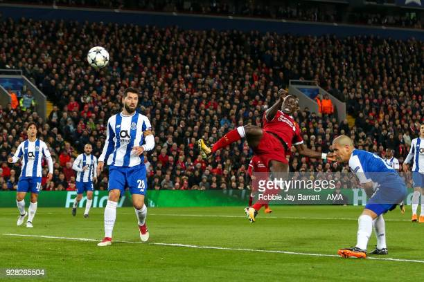 Sadio Mane of Liverpool has a shot at goal during the UEFA Champions League Round of 16 Second Leg match between Liverpool and FC Porto at Anfield on...
