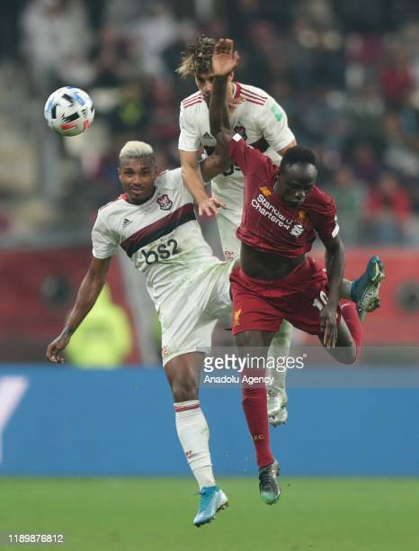Sadio Mane of Liverpool in action against Vitinho of CR Flamengo during the FIFA Club World Cup Qatar 2019 Final match between Liverpool FC and CR...