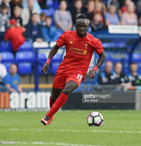 Sadio Mane of Liverpool in action during a PreSeason Friendly match between Tranmere Rovers and Liverpool at Prenton Park on July 8 2016 in...