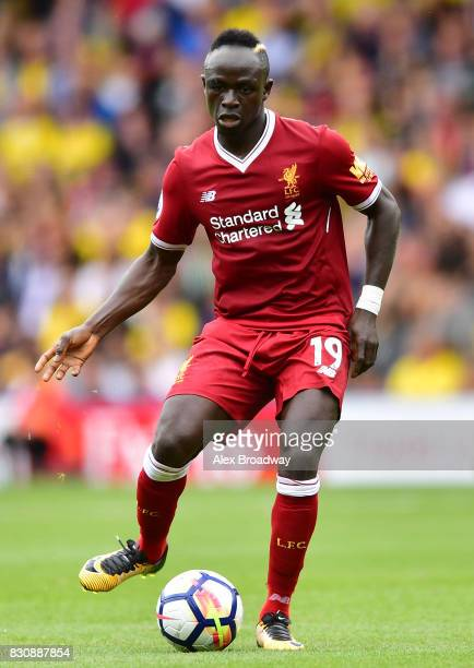 Sadio Mane of Liverpool in action during the during the Premier League match between Watford and Liverpool at Vicarage Road on August 12 2017 in...