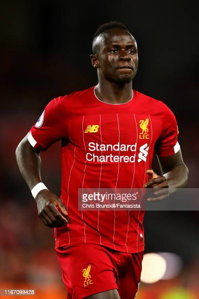 Sadio Mane of Liverpool in action during the Premier League match between Liverpool FC and Norwich City at Anfield on August 09 2019 in Liverpool...