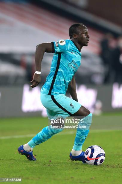 Sadio Mane of Liverpool in action during the Premier League match between Sheffield United and Liverpool at Bramall Lane on February 28, 2021 in...