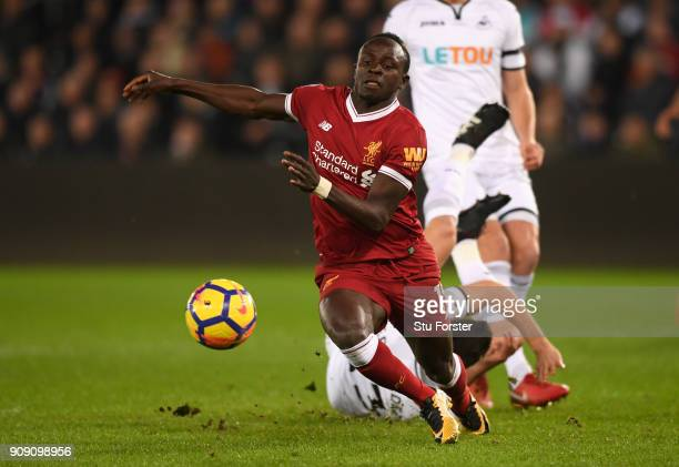 Sadio Mane of Liverpool in action during the Premier League match between Swansea City and Liverpool at Liberty Stadium on January 22 2018 in Swansea...