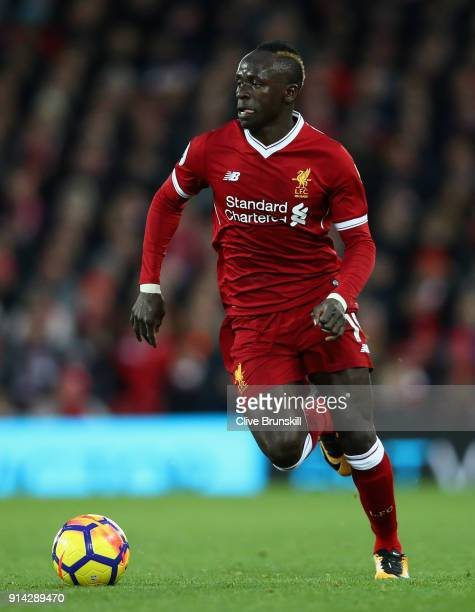 Sadio Mane of Liverpool in action during the Premier League match between Liverpool and Tottenham Hotspur at Anfield on February 4 2018 in Liverpool...
