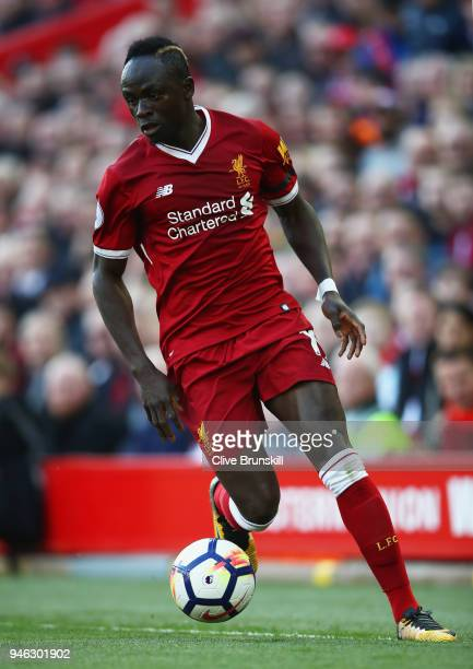 Sadio Mane of Liverpool in action during the Premier League match between Liverpool and AFC Bournemouth at Anfield on April 14 2018 in Liverpool...
