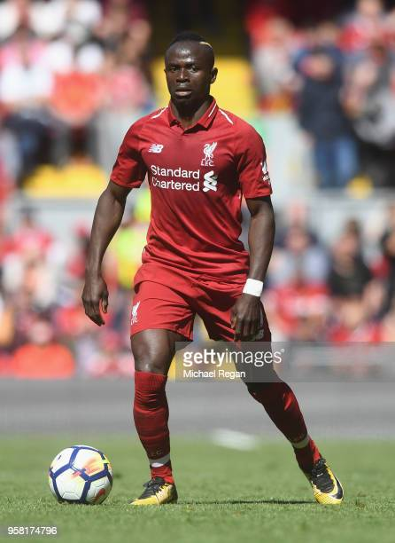 Sadio Mane of Liverpool in action during the Premier League match between Liverpool and Brighton and Hove Albion at Anfield on May 13 2018 in...