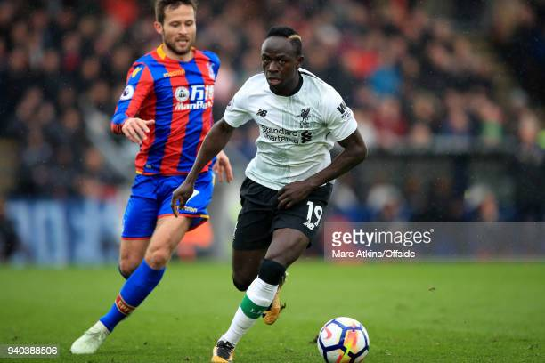 Sadio Mane of Liverpool in action with Yohan Cabaye of Crystal Palace during the Premier League match between Crystal Palace and Liverpool at...
