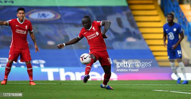 Sadio Mane of Liverpool intercepting the ball from Kepa Arrizabalaga of Chelsea during the Premier League match between Chelsea and Liverpool at...