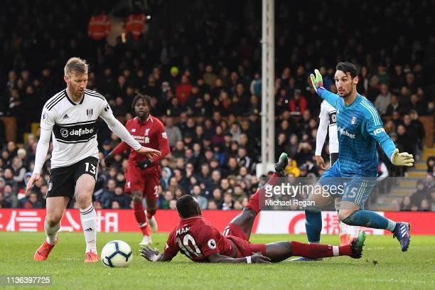 Sadio Mane of Liverpool is brought down in the penalty area by Sergio Rico of Fulham which results in a penalty being given to Liverpool which leads...