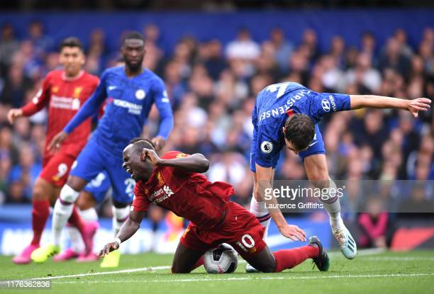 Sadio Mane of Liverpool is fouled by Andreas Christensen of Chelsea leading to a free kick from which Liverpool scored during the Premier League...