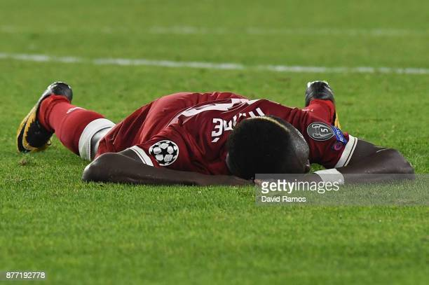 Sadio Mane of Liverpool lies on the ground after a missed chance during the UEFA Champions League group E match between Sevilla FC and Liverpool FC...