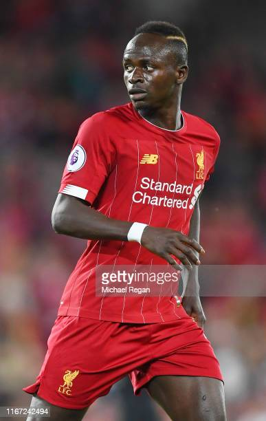 Sadio Mane of Liverpool looks on during the Premier League match between Liverpool FC and Norwich City at Anfield on August 09 2019 in Liverpool...