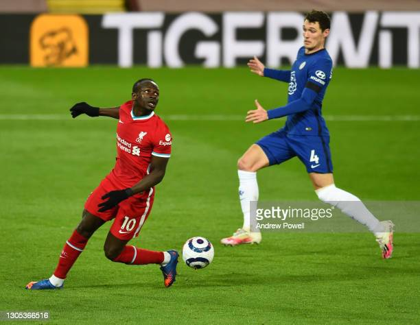 Sadio Mane of Liverpool misses a sitter during the Premier League match between Liverpool and Chelsea at Anfield on March 04, 2021 in Liverpool,...