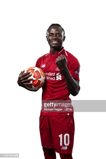 Sadio Mane of Liverpool poses for a photo during the Liverpool FC UEFA Champions League Final Preview Portrait Shoot at Melwood Training Ground on...