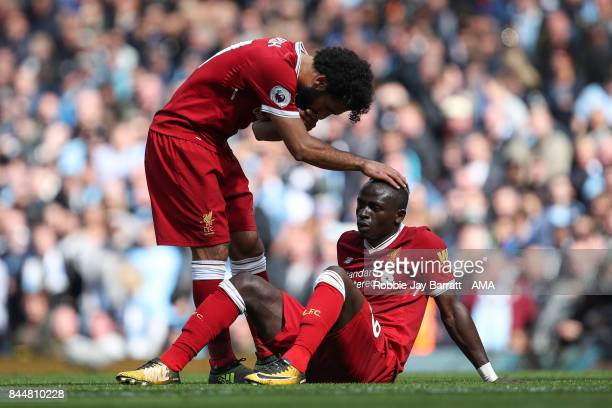 Sadio Mane of Liverpool reacts after being sent off during the Premier League match between Manchester City and Liverpool at Etihad Stadium on...