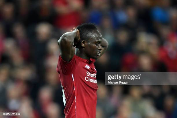 Sadio Mane of Liverpool reacts during the Group C match of the UEFA Champions League between Liverpool and Paris SaintGermain at Anfield on September...