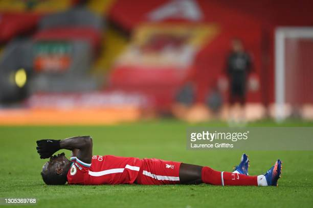 Sadio Mane of Liverpool reacts during the Premier League match between Liverpool and Chelsea at Anfield on March 04, 2021 in Liverpool, England....