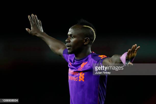 Sadio Mane of Liverpool reacts during the Premier League match between Arsenal FC and Liverpool FC at Emirates Stadium on November 3 2018 in London...