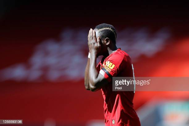 Sadio Mane of Liverpool reacts during the Premier League match between Liverpool FC and Burnley FC at Anfield on July 11 2020 in Liverpool England...