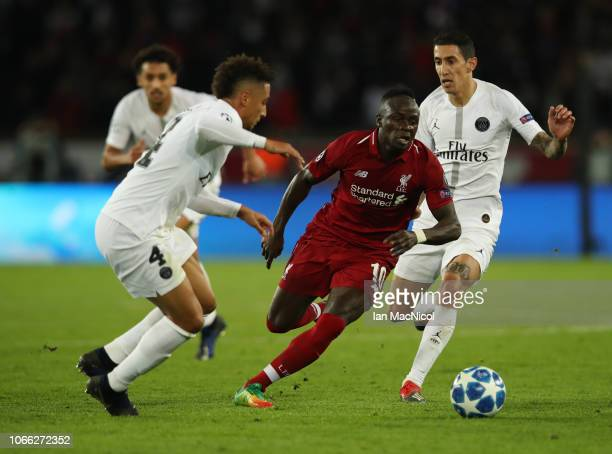 Sadio Mane of Liverpool runs with the ball during the Group C match of the UEFA Champions League between Paris SaintGermain and Liverpool at Parc des...