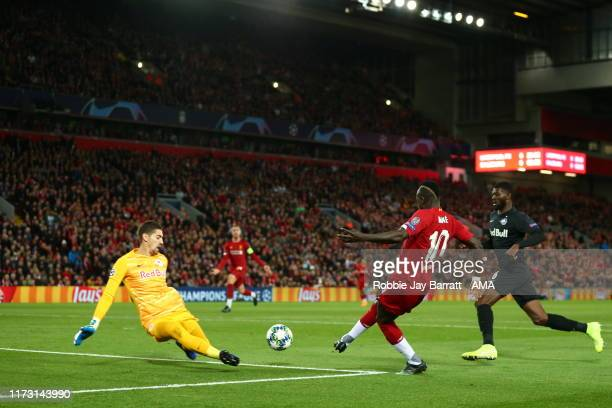 Sadio Mane of Liverpool scores a goal to make it 10 during the UEFA Champions League group E match between Liverpool FC and RB Salzburg at Anfield on...