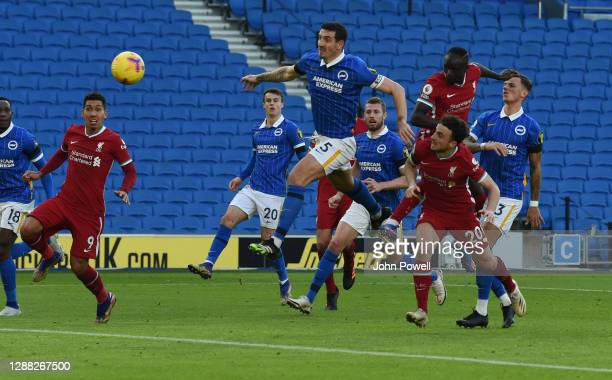 Sadio Mane of Liverpool scores but disaloude by V.A.R during the Premier League match between Brighton & Hove Albion and Liverpool at American...