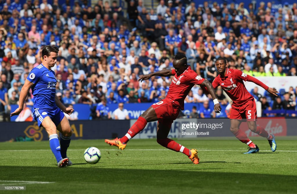 Sadio Mane of Liverpool scores during the Premier League match between Leicester City and Liverpool FC at The King Power Stadium on September 1, 2018 in Leicester, United Kingdom.