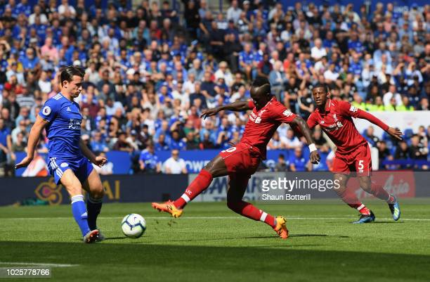 Sadio Mane of Liverpool scores during the Premier League match between Leicester City and Liverpool FC at The King Power Stadium on September 1 2018...