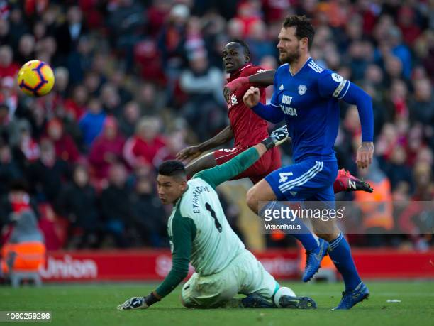 Sadio Mane of Liverpool scores his second goal during the Premier League match between Liverpool FC and Cardiff City at Anfield on October 27 2018 in...