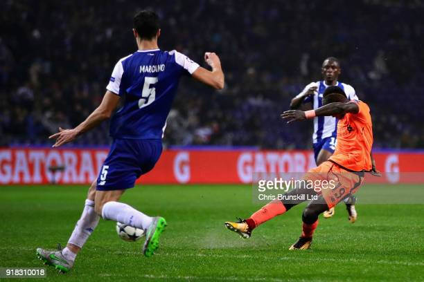 Sadio Mane of Liverpool scores his sides fifth goal during the UEFA Champions League Round of 16 First Leg match between FC Porto and Liverpool at...