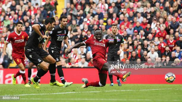 Sadio Mane of Liverpool scores his sides first goal during the Premier League match between Liverpool and Crystal Palace at Anfield on August 19 2017...