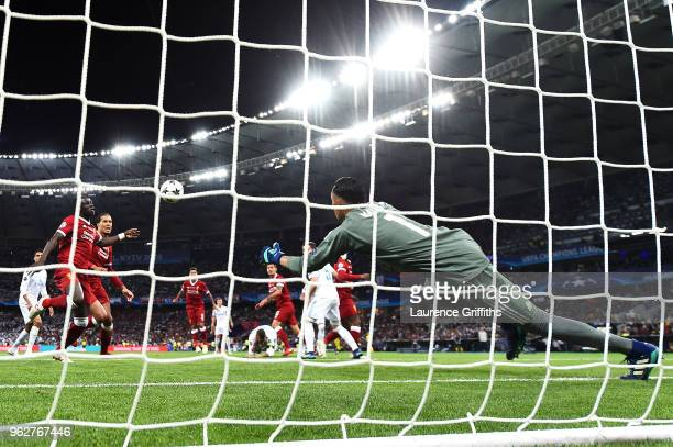 Sadio Mane of Liverpool scores his sides first goal during the UEFA Champions League Final between Real Madrid and Liverpool at NSC Olimpiyskiy...