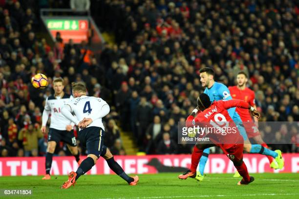 Sadio Mane of Liverpool scores his side's second goal during the Premier League match between Liverpool and Tottenham Hotspur at Anfield on February...
