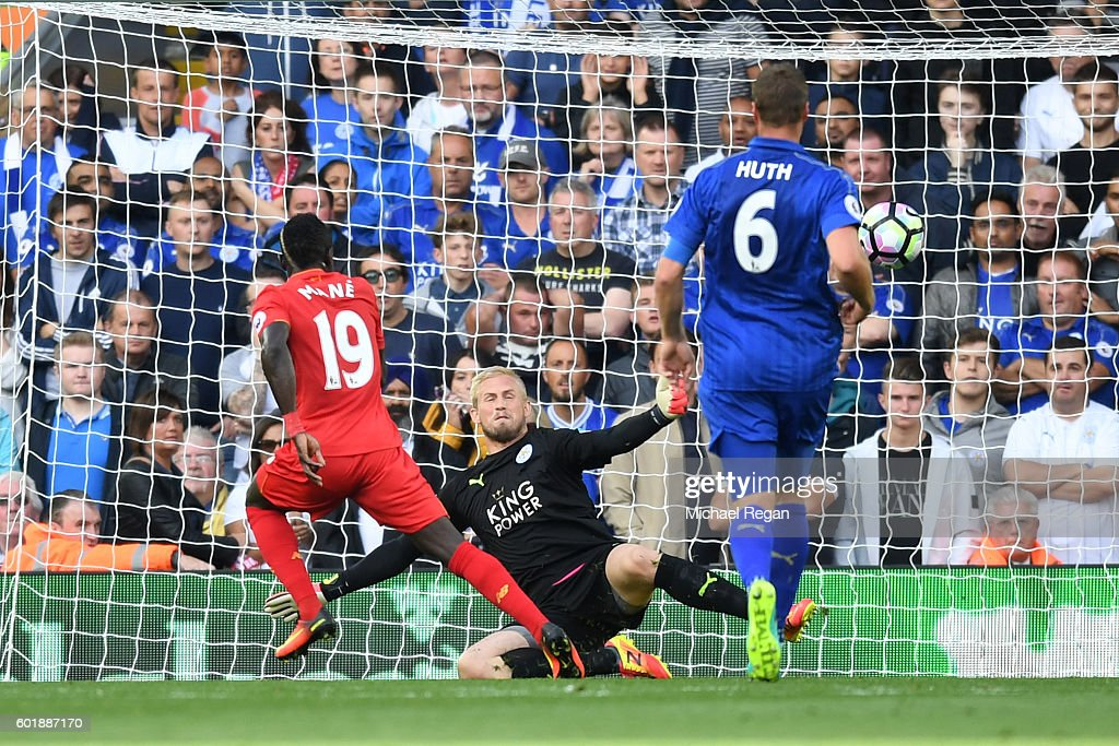 Sadio Mane of Liverpool scores his sides second goal past Kasper Schmeichel of Leicester City during the Premier League match between Liverpool and Leicester City at Anfield on September 10, 2016 in Liverpool, England.