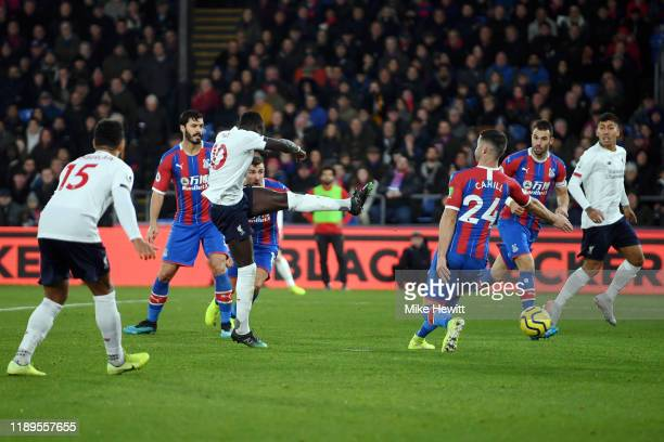 Sadio Mane of Liverpool scores his team's first goal during the Premier League match between Crystal Palace and Liverpool FC at Selhurst Park on...