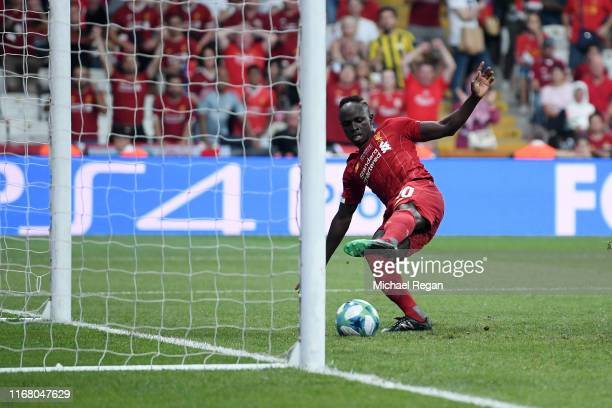 Sadio Mane of Liverpool scores his team's first goal during the UEFA Super Cup match between Liverpool and Chelsea at Vodafone Park on August 14,...