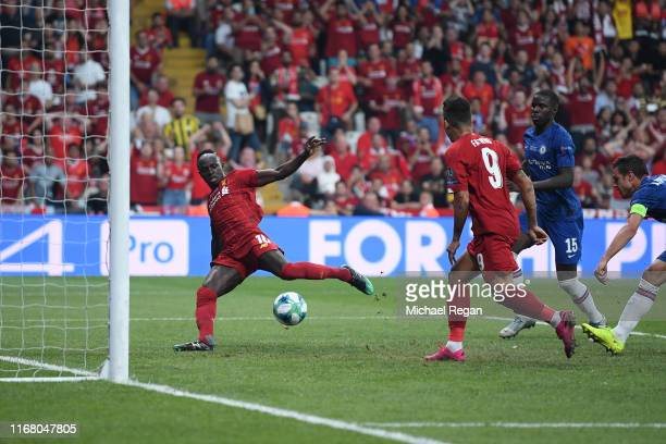 Sadio Mane of Liverpool scores his team's first goal during the UEFA Super Cup match between Liverpool and Chelsea at Vodafone Park on August 14 2019...