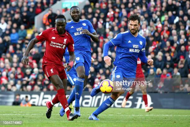 Sadio Mane of Liverpool scores his team's fourth goal during the Premier League match between Liverpool FC and Cardiff City at Anfield on October 27,...